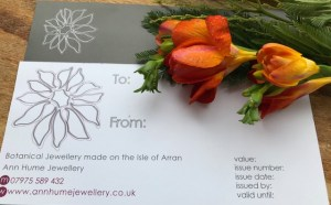 Gift voucher for handmade jewellery by Ann Hume